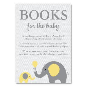 Elephant Bring a Book Cards in Yellow and Gray