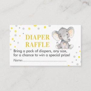 Elephant Diaper Raffle Ticket Yellow Baby Shower Enclosure Card