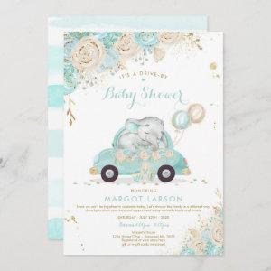 Elephant Drive By Baby Shower Invitation Mint