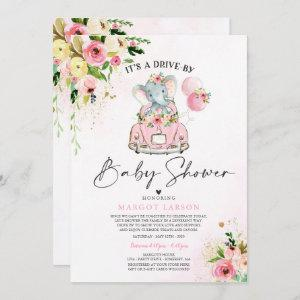 Elephant Drive By Baby Shower Invitation Pink