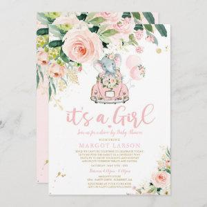 Elephant Drive By Baby Shower  Pink Rose