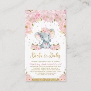 Elephant Floral Baby Shower Bring a Book Enclosure Card