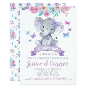 Elephant Floral Baby Shower Invitation