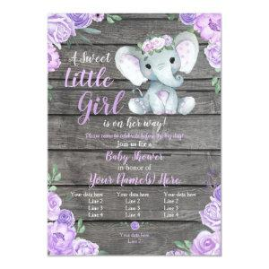 Elephant Girl Invitation, Floral rustic, purple Invitation