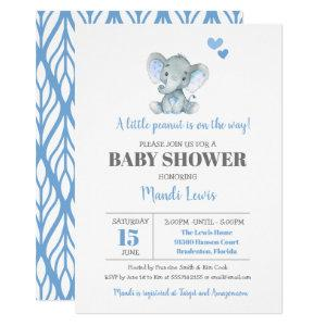 Elephant Little Peanut Boy Baby Shower Invitation