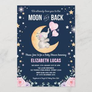Elephant Love You To the Moon and Back Baby Shower Invitation