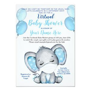 Elephant Mask Virtual Shower Baby Boy Invitation