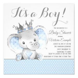 Elephant Prince Baby Shower Invitation