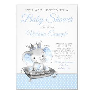 Elephant Prince Boy Baby Shower Invitation