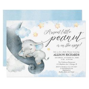 Elephant sweet little peanut cute boy baby shower invitation