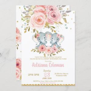 Elephant Twin Girls Baby Shower  Floral