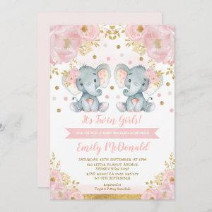 Elephant Twin Girls Baby Shower Pink Gold Floral