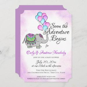 Elephant with Balloons Baby Shower