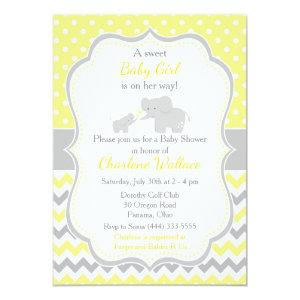 Elephant Yellow and Gray Baby Shower Invitation