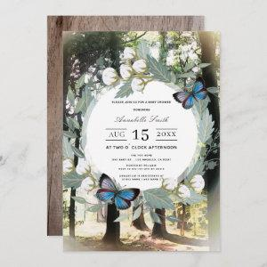 Enchanted Forest Wreath Butterfly Baby Shower Invitation