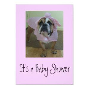 English Bulldog Baby Shower Invitations