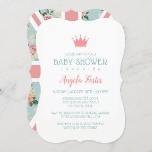 English Roses Union Jack Baby Shower Invitation