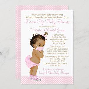 Ethnic Baby Girl With Mask Drive By Baby Shower Invitation