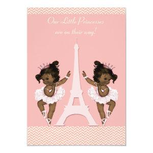 Ethnic Ballerina Twins Eiffel Tower Baby Shower Invitation