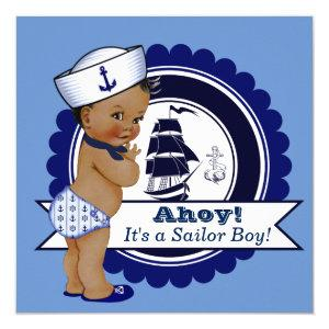 Ethnic Boy Blue Nautical Baby Shower Invitation