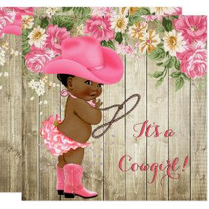 Ethnic Cowgirl Baby Shower Pink Boots Floral Invitation