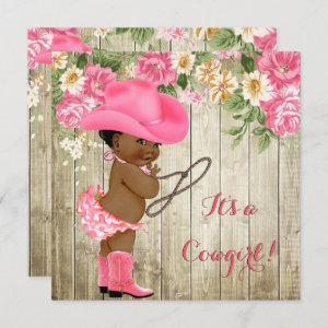 Ethnic Cowgirl Baby Shower Pink Boots Floral