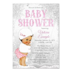 Ethnic Girl Winter Wonderland Baby Shower Invitation