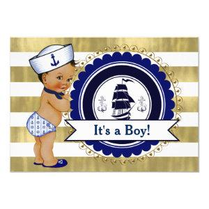 Ethnic Little Sailor Boy Nautical Baby Shower Invitation