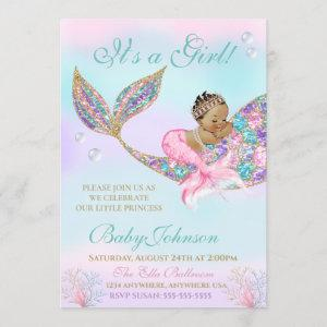 Ethnic Mermaid Baby SHower Glitter Tail Invitation