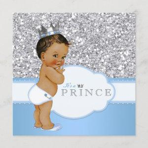 Ethnic Prince Baby Shower Blue and Silver