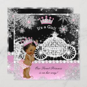 Ethnic Princess Baby Shower Carriage Pink Black