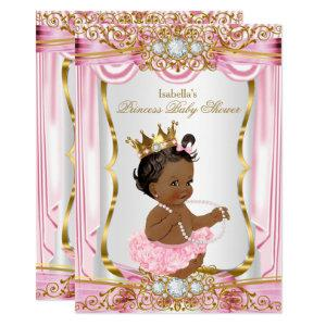 Ethnic Princess Baby Shower Pink Silk Gold Invitation