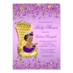 Ethnic Princess Lavender Gold Baby Shower Invitation