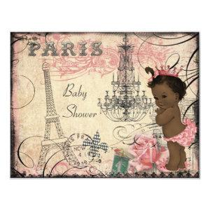 Ethnic Princess Paris Eiffel Tower Baby Shower Invitation