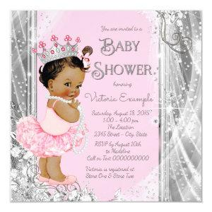 Ethnic Princess Tutu Pink Silver Baby Shower Invitation