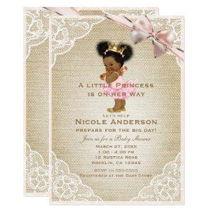 Ethnic Princess Vintage Baby Girl Rustic Shower Invitation