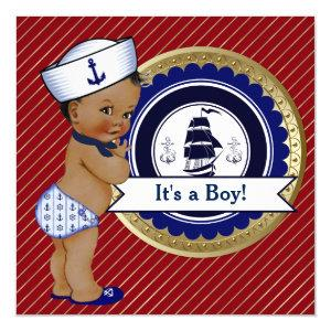 Ethnic Sailor Boy Nautical Baby Shower Invitation