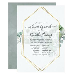 Eucalyptus Geometric Baby Shower by Mail Invitation