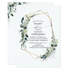 Eucalyptus Greenery Geometric Modern Baby Shower Invitation