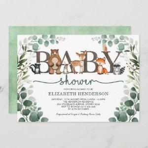 Eucalyptus Greenery Woodland Animals Baby Shower Invitation