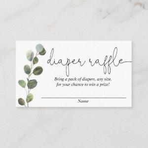 Eucalyptus simple black white diaper raffle cards