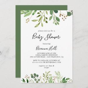 Eucalyptus Simple Brown Floral Baby Shower Invitation