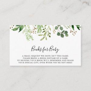 Eucalyptus Simple Floral Baby Shower Book Request Enclosure Card