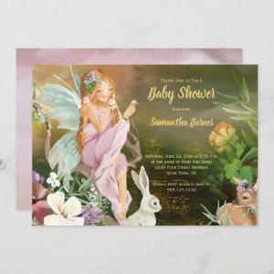 Fairies and Baby Animals Woodland Baby Shower Invitation