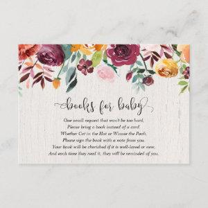 Fall floral burgundy baby shower book request enclosure card