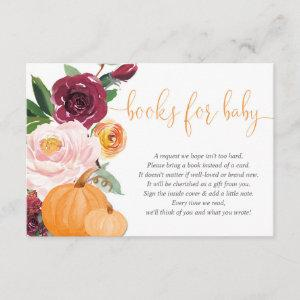 Fall floral pink burgundy baby shower book request enclosure card