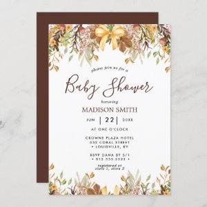 Fall Foliage Floral Gender Neutral Baby Shower Invitation