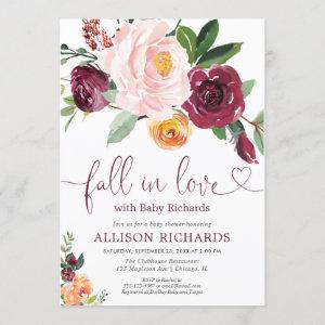 Fall in love fall floral burgundy girl baby shower invitation