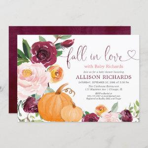 Fall in love floral rustic burgundy baby shower