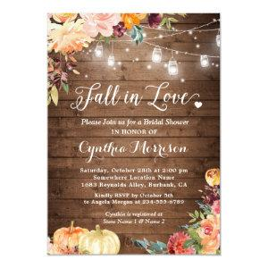 Fall in Love Floral String Lights Bridal Shower Invitation